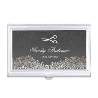 Vintage Elegant Silver Damask - Indie Hair Stylist Business Card Holders
