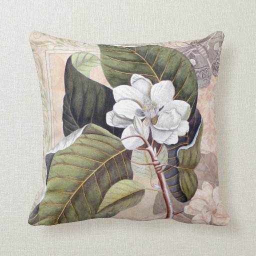 Vintage Elegant Southern Magnolia Chic Pillow