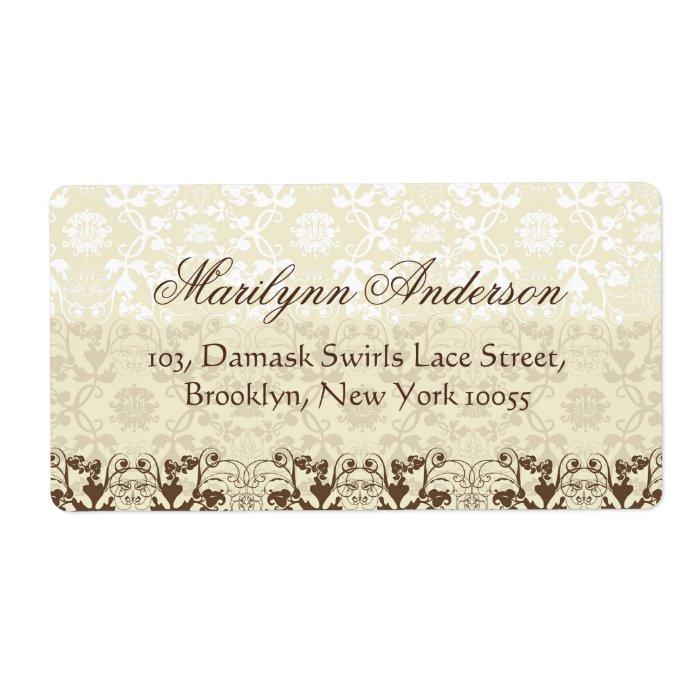 Vintage Elegant Stylish Chic Damask Lace Floral Label