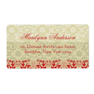 Vintage Elegant Stylish Chic Damask Lace Floral Custom Shipping Label
