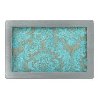 Vintage elegant turquoise gold victorian pattern rectangular belt buckles
