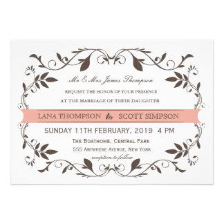 Vintage Elegant Victorian Flourish White Wedding Custom Announcement