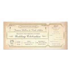 Vintage Elegant Wedding Ticket Invitation w/ RSVP 4