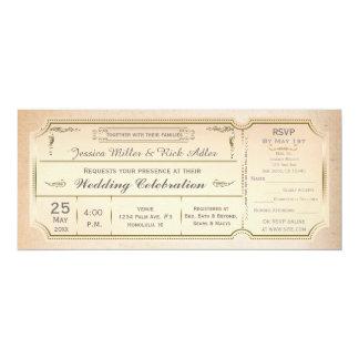 Vintage Elegant Wedding Ticket Invitation w/ RSVP