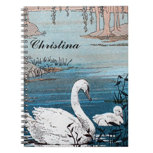 Vintage Elegant White Mother Swan Baby in Lake Spiral Notebook
