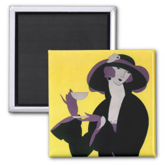 Vintage Elegant Woman Drinking Afternoon Tea Party 2 Inch Square Magnet