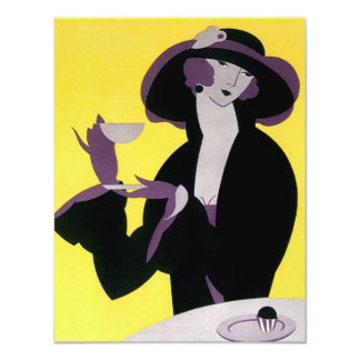 Vintage Elegant Woman Drinking Afternoon Tea Party 4.25x5.5 Paper Invitation Card