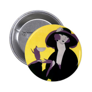 Vintage Elegant Woman Drinking Afternoon Tea Party Button