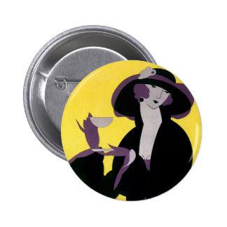 Vintage Elegant Woman Drinking Afternoon Tea Party Pins