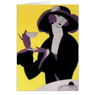 Vintage Elegant Woman Drinking Afternoon Tea Party Greeting Card