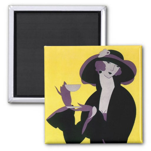 Vintage Elegant Woman Drinking Afternoon Tea Party Refrigerator Magnet