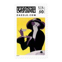 Vintage Elegant Woman Drinking Afternoon Tea Party Postage