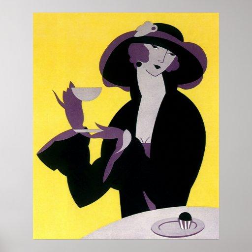 Vintage Elegant Woman Drinking Afternoon Tea Party Print