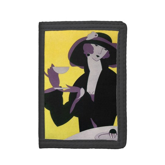 Vintage Elegant Woman Drinking Afternoon Tea Party Trifold Wallet