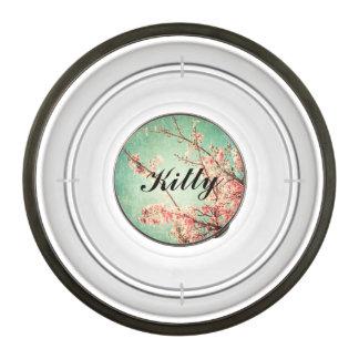 Vintage elegant worn teal wood & cherry blossom pet bowl