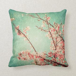 Vintage elegant worn teal wood & cherry blossom pillows