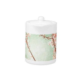 Vintage elegant worn teal wood cherry blossom