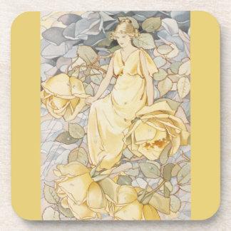 Vintage Elegant Yellow Rose Garden Fairy Fae Coaster