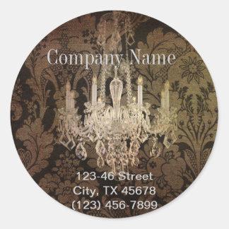 vintage elegante de la lámpara del damasco pegatina redonda