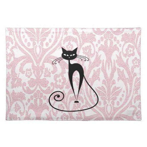Vintage elegante del damasco del gato negro mantel individual