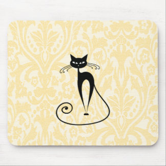 Vintage elegante del damasco del gato negro tapete de raton