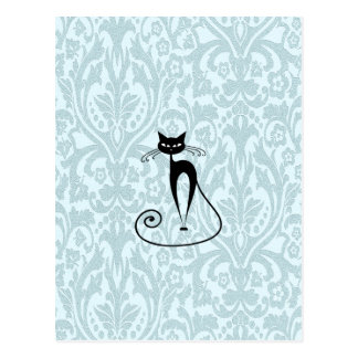 Vintage elegante del damasco del gato negro tarjeta postal