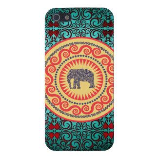 Vintage elegante del elefante del damasco de Stell iPhone 5 Funda