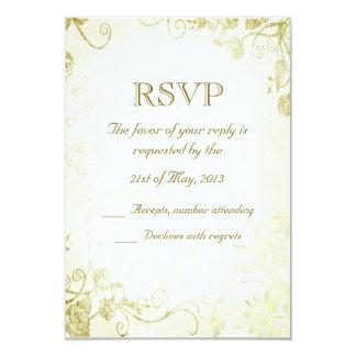 Vintage elegante del oro que casa la tarjeta de invitación 8,9 x 12,7 cm