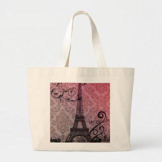 Vintage elegante femenino floral París de la torre Bolsa Tela Grande