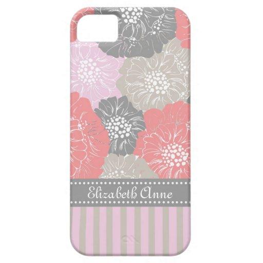 Vintage elegante floral con las rayas en rosa iPhone 5 carcasa