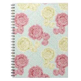 Vintage elegante lamentable floral y cuaderno del