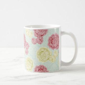 Vintage elegante lamentable floral y taza del cord