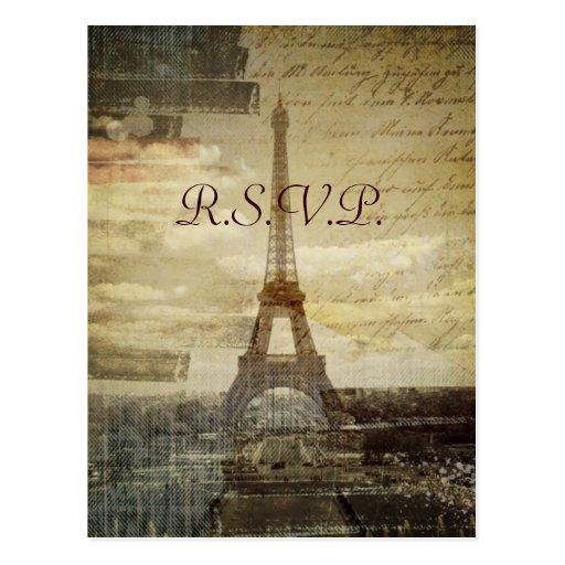 vintage elegante París de la torre del effiel que  Postales