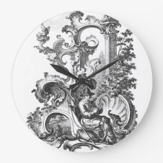 Vintage elegante Toile blanco y negro francés Reloj Redondo Grande
