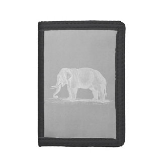 Vintage Elephant 1800s African Elephants Template Trifold Wallet