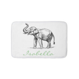 Vintage elephant add your name text elephants bath mat