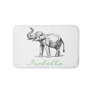 Vintage elephant add your name text elephants bath mat