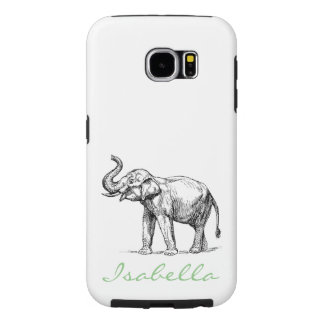 Vintage elephant add your name text elephants samsung galaxy s6 case