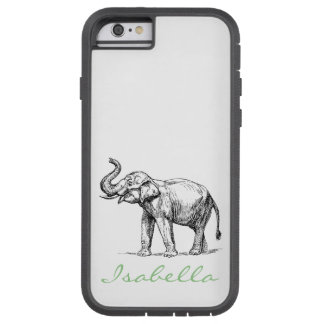 Vintage elephant add your name text elephants tough xtreme iPhone 6 case