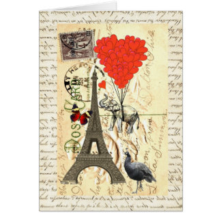 Vintage elephant and red heart balloons greeting card