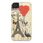 Vintage elephant and red heart balloons iPhone 4 Case-Mate cases