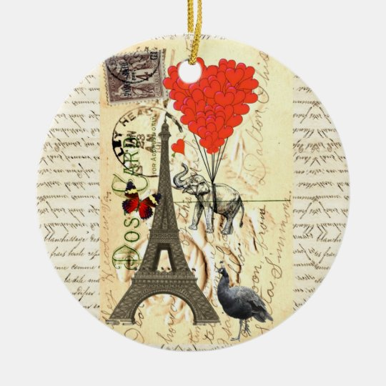 Vintage elephant and red heart balloons ceramic ornament