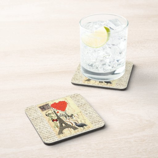 Vintage elephant and red heart balloons drink coaster