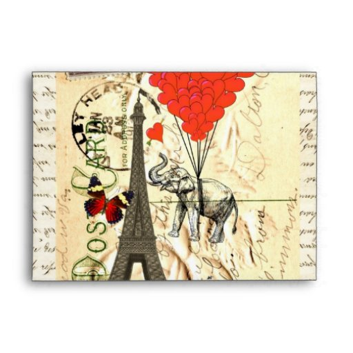 Vintage elephant and red heart balloons envelopes