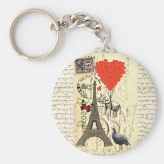 Vintage elephant and red heart balloons basic round button keychain