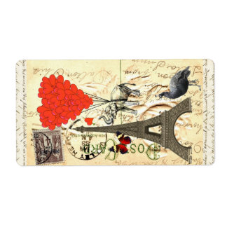 Vintage elephant and red heart balloons personalized shipping label