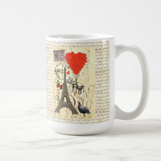 Vintage elephant and red heart balloons classic white coffee mug