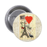 Vintage elephant and red heart balloons pin