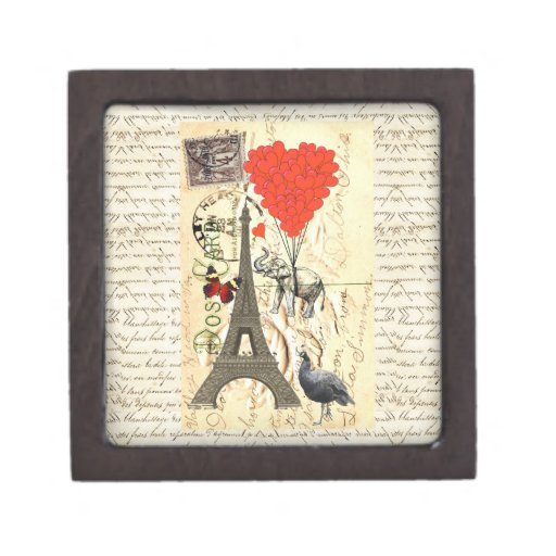 Vintage elephant and red heart balloons premium keepsake boxes