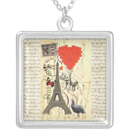Vintage elephant and red heart balloons silver plated necklace